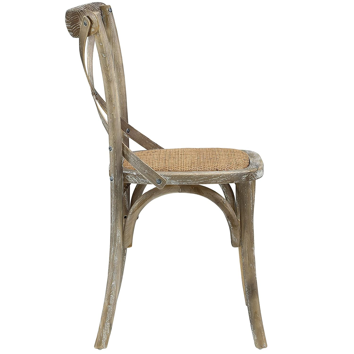 Amazon.com   Modway Gear Modern Farmhouse Cross Back Solid Elm Wood Dining  Side Chair With Rattan Seat In Gray   Chairs