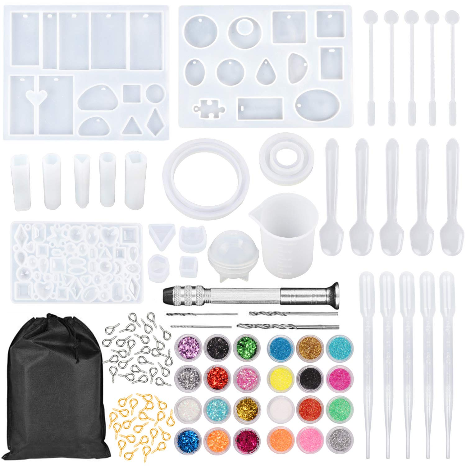 NANAPLUMS 159Pcs DIY Jewelry Resin Casting Molds and Tools Full Kit, Silicone Molds for DIY Jewelry Pendant Craft Making Set Contains Resin Molds, Glitter Powder, Glitter Sequins and Tools