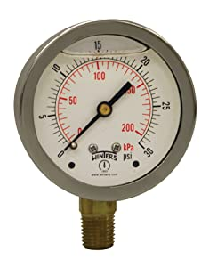 """Winters PFQ Series Stainless Steel 304 Dual Scale Liquid Filled Pressure Gauge with Brass Internals, 0-30 psi/kpa,2-1/2"""" Dial Display, +/-1.5% Accuracy, 1/4"""" NPT Bottom Mount"""