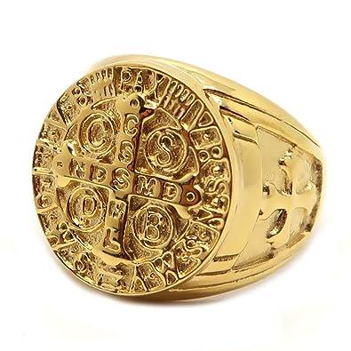 b0fff6e10a0212 BOBIJOO Jewelry - Chevalière Bague Dorée Médaille Croix Ordre Saint Benoît  Templier Pape Acier Or  Amazon.fr  Bijoux