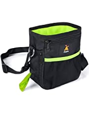 Furkicks Dog Treat Bag Built-In Poo Waste Bags Dispenser, Handy Drawstring Puppy Training Walking Pouch with Clip Waist Belt