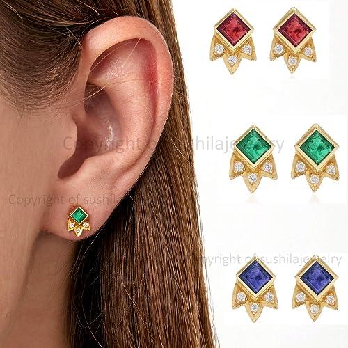 Emerald Gemstone Earrings 14k Yellow Gold Studs