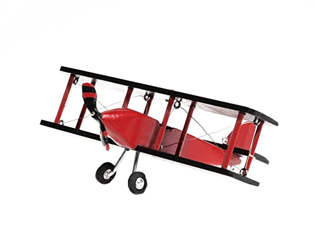 Hanging Airplane For Children Kid Room Nursery Fly Vintage Decor Black Red Wooden 5in