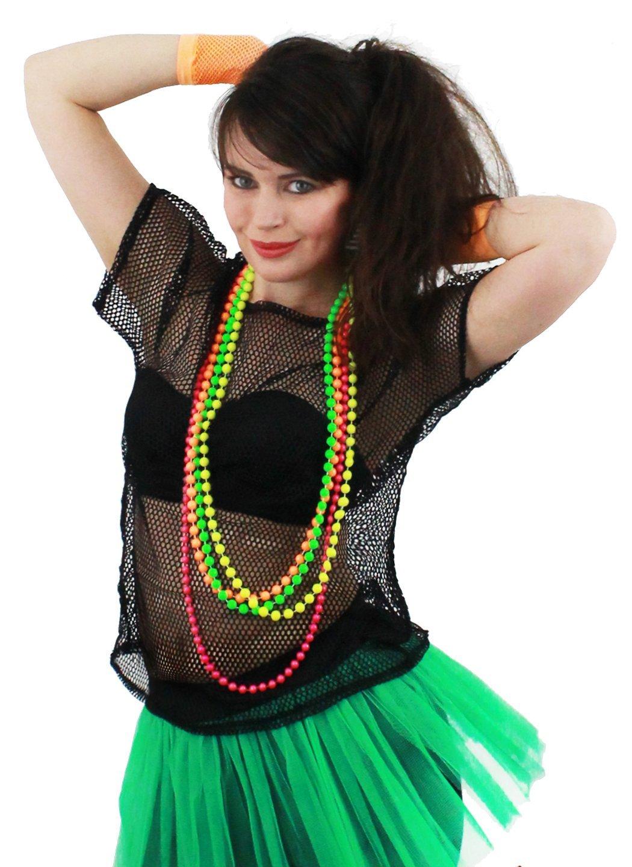 LADIES 80S MESH TOPS FANCY DRESS ACCESSORY 1980u0027S RAVE TSHIRT FISHNET ROLLER DISCO 80u0027S CLUBBING IN  sc 1 st  Amazon UK & 80u0027s Fancy Dress Costumes: Amazon.co.uk