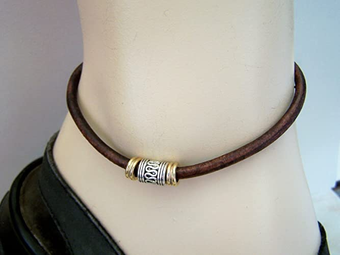 Men Rustic Tan Anklet Leather Ankle Bracelet With Silver Gold Tone Beads
