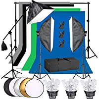 """Abeststudio Photography Studio Softbox Continuous Lighting Kit, 6.6 x 10ft Background Support Stand+ 5 Backdrops +15x 45W Bulbs + 5 Light Socket Adaptor Softbox Kit + 5-in-1 43"""" Reflector for Portrait Product Video Shooting"""