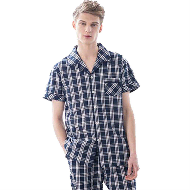 Colygamala Men's Summer Cotton 2 Pieces Short Sleeves Plaids Lounge Pajama Set