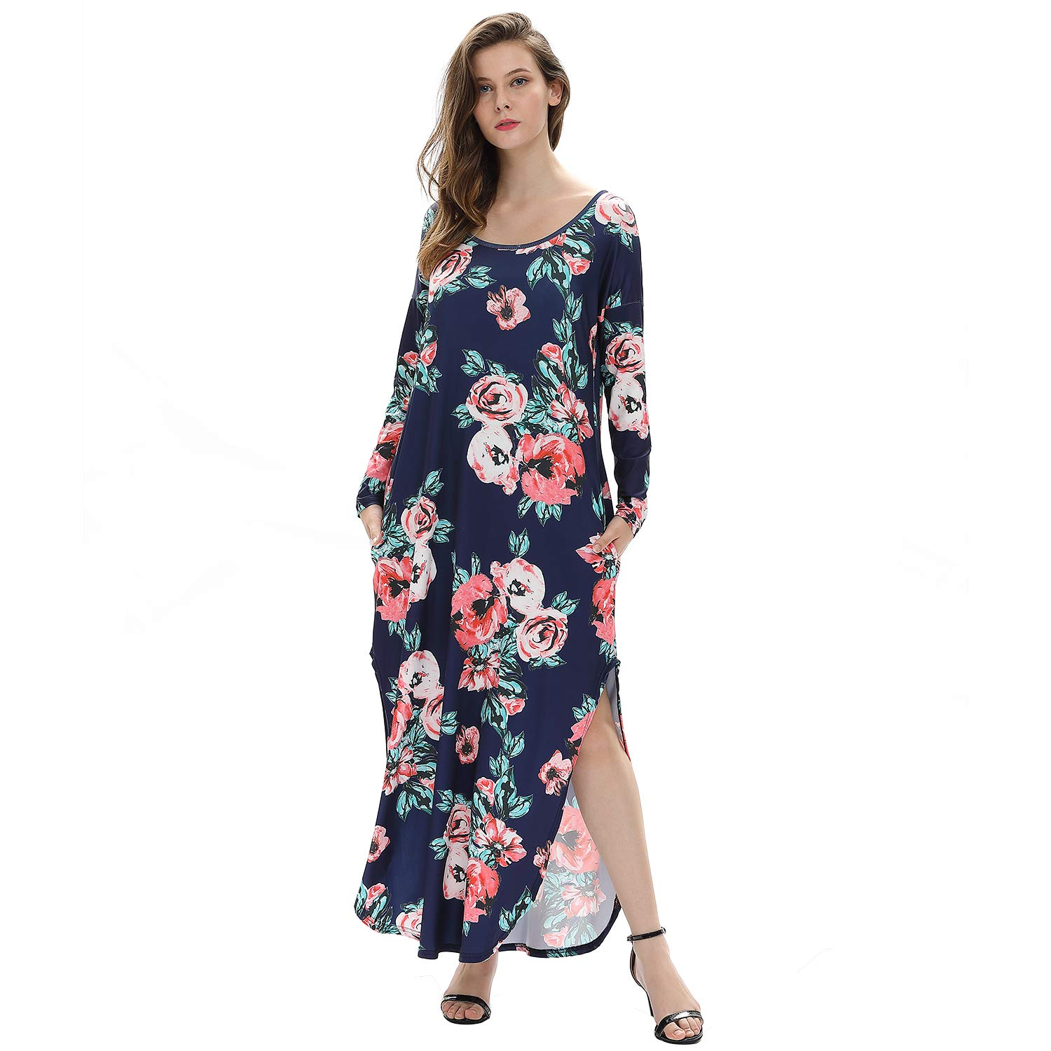 76127b14a619 Floral maxi dresses,chic two sides split design extremely sexy; full length  maxi for fall or winter with long sleeves ...