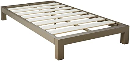 In Style Furnishings Stella Modern Metal Low Profile Thick Slats Support  Platform Bed Frame - Twin Size, Gray