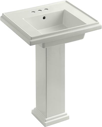KOHLER K-2844-4-NY Tresham 24-inch Pedestal Bathroom Sink with 4-inch Centerset Faucet Drilling, Dune