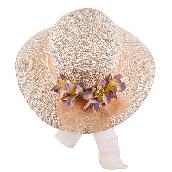 iShine Gorras Mujer Ocio Sombrero de Sol con Flores al Aire Libre ...