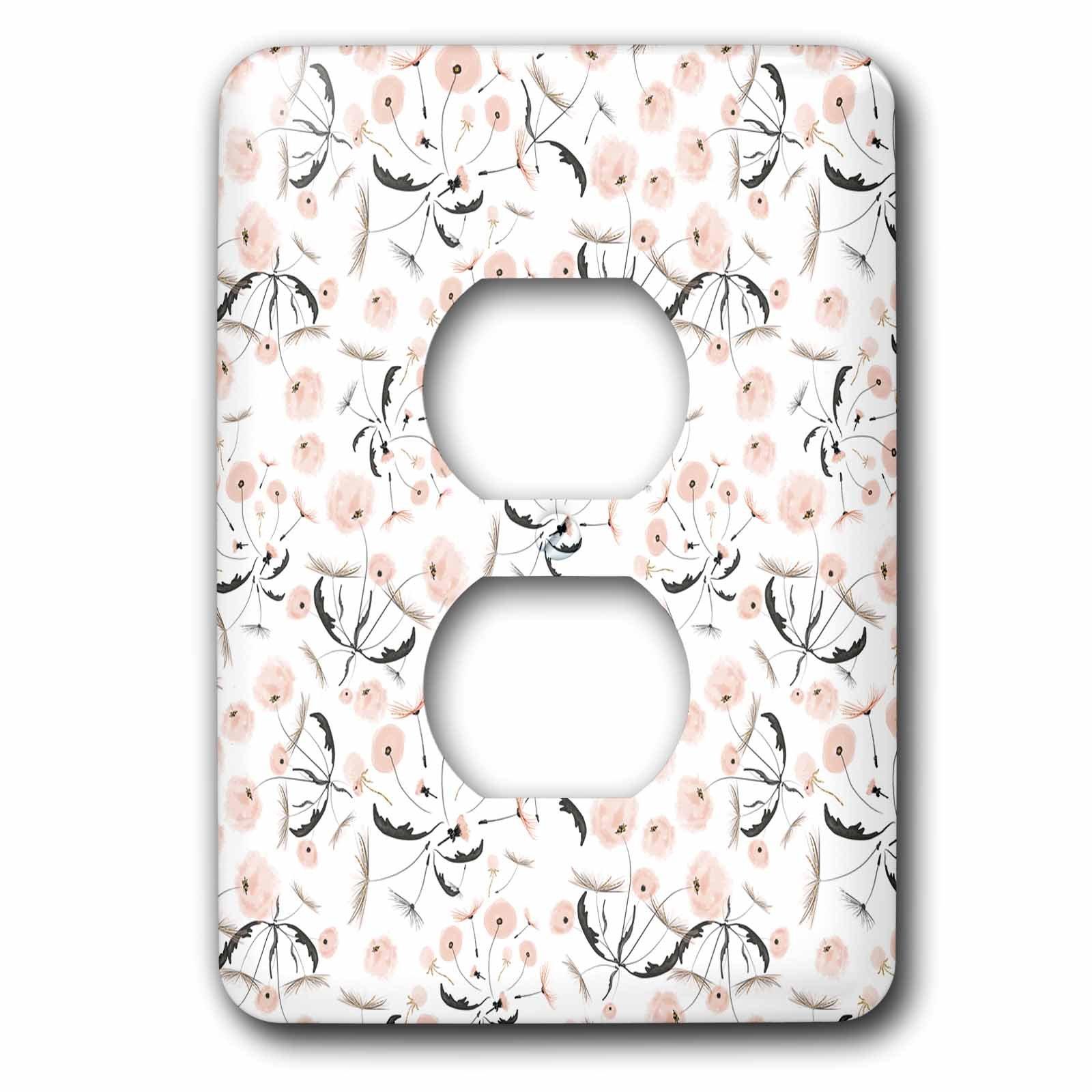 3dRose Uta Naumann Pattern - Luxury Shiny Elegant Rose Gold Dandelion Flower Pattern - Light Switch Covers - 2 plug outlet cover (lsp_272873_6)