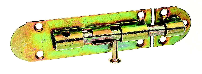 GAH-Alberts 124083 Grendelriegel mit Knopfgriff und ohne Feder, galvanisch gelb verzinkt, Platte: 100 x 30 mm, Bolzen: Ø 8 mm Gust. Alberts GmbH & Co.KG
