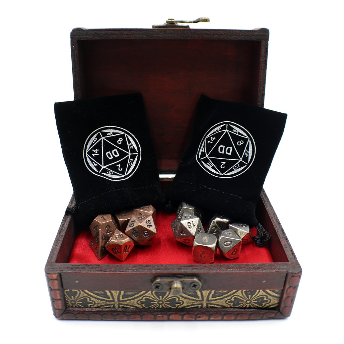 Twin Role Playing Metal Dice Sets with Storage Chest for Tabletop Games by Dahan Dice (Image #3)