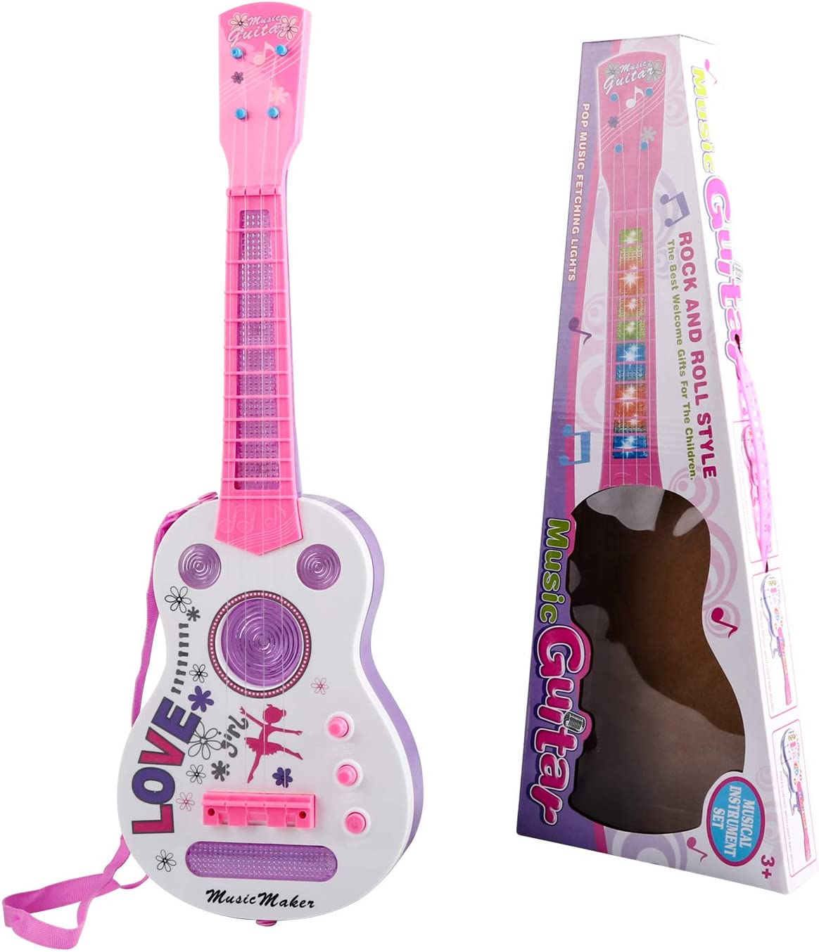 TWFRIC Kids Guitar, Flash Light Kid Guitarra Guitarra eléctrica ...