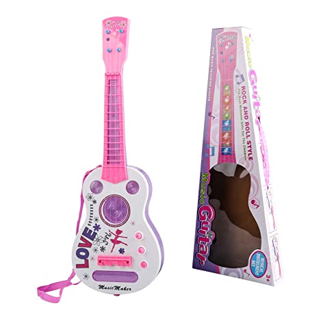 TWFRIC Kids Guitar, Flash Light Kid Guitarra Guitarra eléctrica para niños Juguete de enseñanza Musical