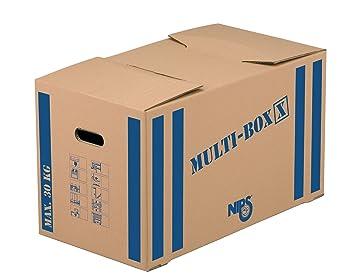 Nips Multi-Box X - Cajas de mudanza (10 unidades, 64,5 x 34,5 x 37 cm), color marrón con rayas azules: Amazon.es: Oficina y papelería