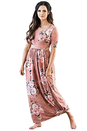 2aec56702e33 Miranda Modest Maxi Dress in Pink w/Floral Print - L at Amazon ...