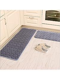 Kitchen Rugs,CAMAL 2 Pieces Non Slip Memory Foam Kitchen Mat Rubber Backing  Doormat