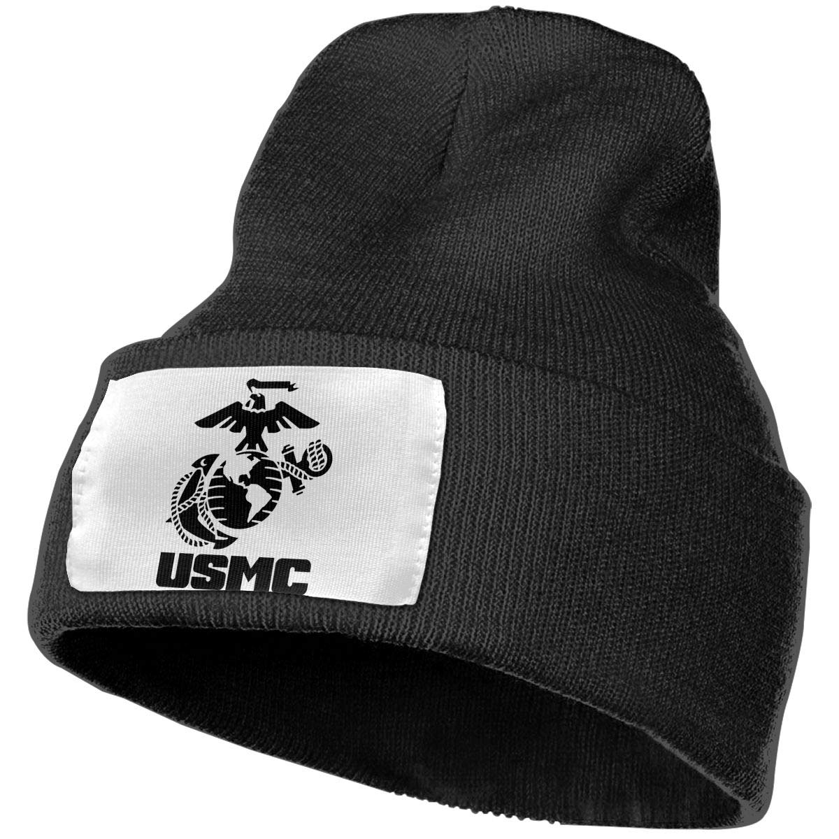 USMC Logo Men/&Women Warm Winter Knit Plain Beanie Hat Skull Cap Acrylic Knit Cuff Hat