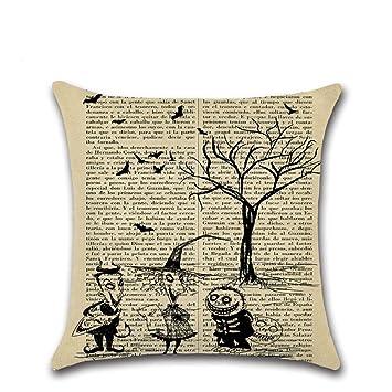 Fundas de cojín, TWBB Cojín Cover Halloween Lino sofá Cama Coche 45x45 cm decoración: Amazon.es: Hogar