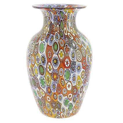 Amazon Glassofvenice Murano Glass Golden Quilt Millefiori Urn