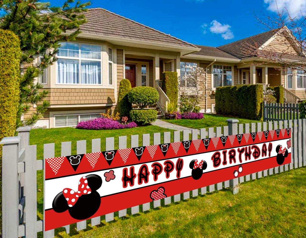 Large Minne Mouse Happy Birthday Banner, Minne Mouse Clubhouse Birthday Party Banner Supplies Decorations (9.8 x 1.5 feet)