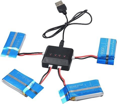 KingSo-4X 3.7V 600mAh de batería para Syma Actualiza X5c X5 quadrocopter: Amazon.es: Juguetes y juegos