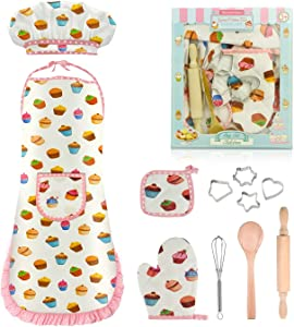 Tesoky Kids Cooking Set,11 Pcs Kids Toys for 3 Year Old Girls and Up Including Kids Chef Hat and Apron,Cooking Set for Kids Gift for Age 3-6 Girl