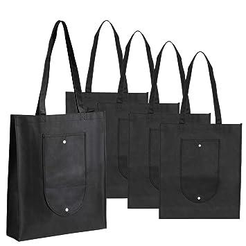 LEMESO 5 Bolsas Reutilizables no Tejido Bolsa de Compras Plegable (Negro)