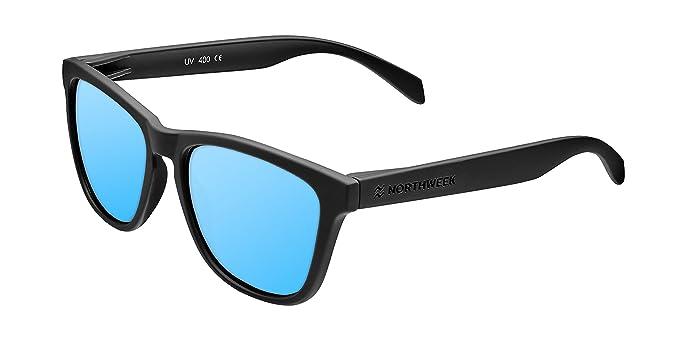 Northweek NDR300015 Regular Deck Gafas de Sol Polarizadas, Negro/Azul Hielo