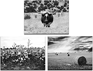 LevvArts 3 Piece Wall Art Black and White Texas Countryside Landscape Pictures Longhorn Cattle Hay Bales Cotton Field Photo Canvas Art Painting for Home Farmhouse Decor Framed Ready to Hang