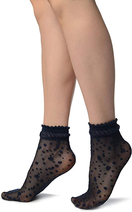 SA002902 Black With Little Dots And Silky Comfort Top Ankle High Socks