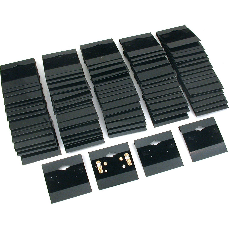 200 pcs Earring Display Hang Cards Black Flocked 2 x 2