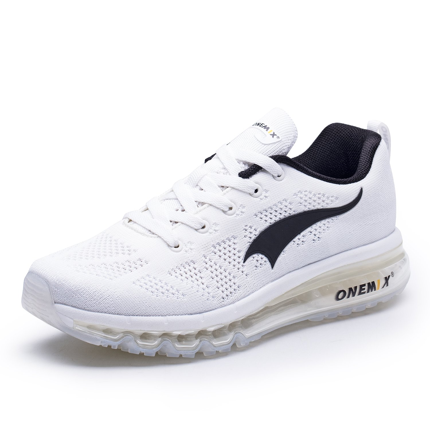 ONEMIX Men's Air Cushion Outdoor Sport Running Shoes Casual Sneakers White Black 8 US 1118B BH41
