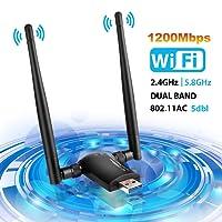 WLAN Adapter , WLAN Stick USB 3.0 Wifi Adapter 1200Mbps Wireless Adapter, WLAN Empfänger (5GHz 867Mbps + 2.4GHz 300Mbps)Dual Band für Windows 10/8.1/8/7/VISTA,Mac OS X,PC/Desktop/Laptop LINGwell