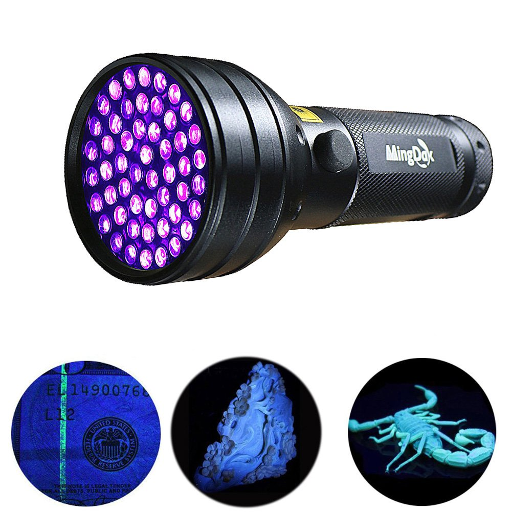 MingDak 395NM UV Blacklight Black Light Ultra Violet Flashlight Pet Dog & Cat Urine Odor Stain Finder Detects Human Fluids, Counterfeit Money, Scorpions,Minerals & Leaks with AAA Batteries- 51 LED by Mingdak
