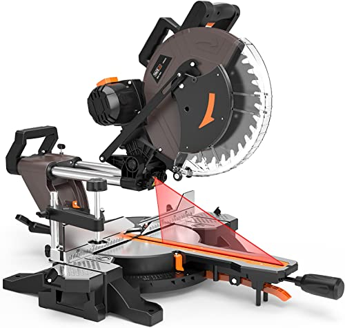 TACKLIFE Sliding Compound Miter Saw 12-Inch, 15-Amp, 3800rpm, Double-Bevel Cut -45 -0 -45 with Laser Guide, Extensible Table, Dust Bag, 40T 305mm Blade for Wood Cut – PMS03A