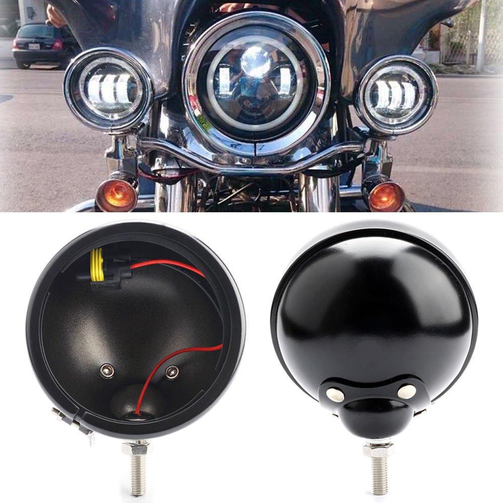 SUPAREE 2 Pcs Moto Support de logement LED Feux Anti-brouillard pour Harley Davidson Motos Chrome