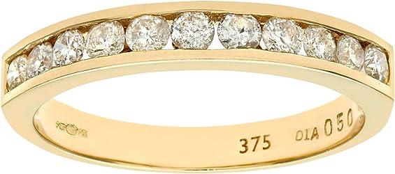 anillo de oro amarillo naava con varios diamantes blancos de 0.25 ct