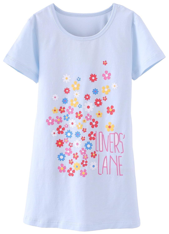 Babikin Girls' Nightgowns Short Sleeve Sleep Cotton Sleepwear Nightdress for Toddler 4-14 Years