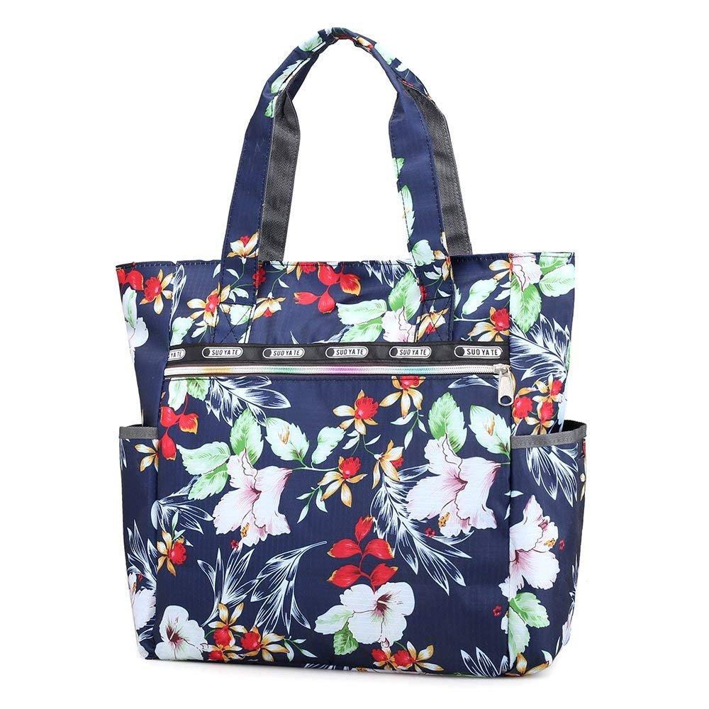 Nawoshow Women Lightweight Nylon Floral Satchel Shoulder Bag Waterproof Handbags Shopping Tote Bags