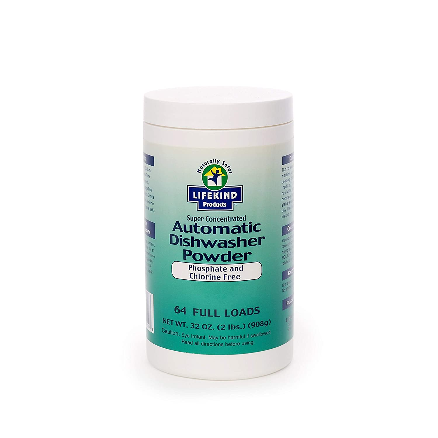 LIFEKIND Natural Super Concentrated Automatic Dishwasher Detergent Powder (2 lbs, 64 Loads) - Phosphate and Chlorine Free