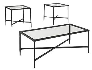 Ashley Furniture Signature Design - Augeron Contemporary 3-Piece Table Set - Includes Cocktail Table & 2 End Tables - Black