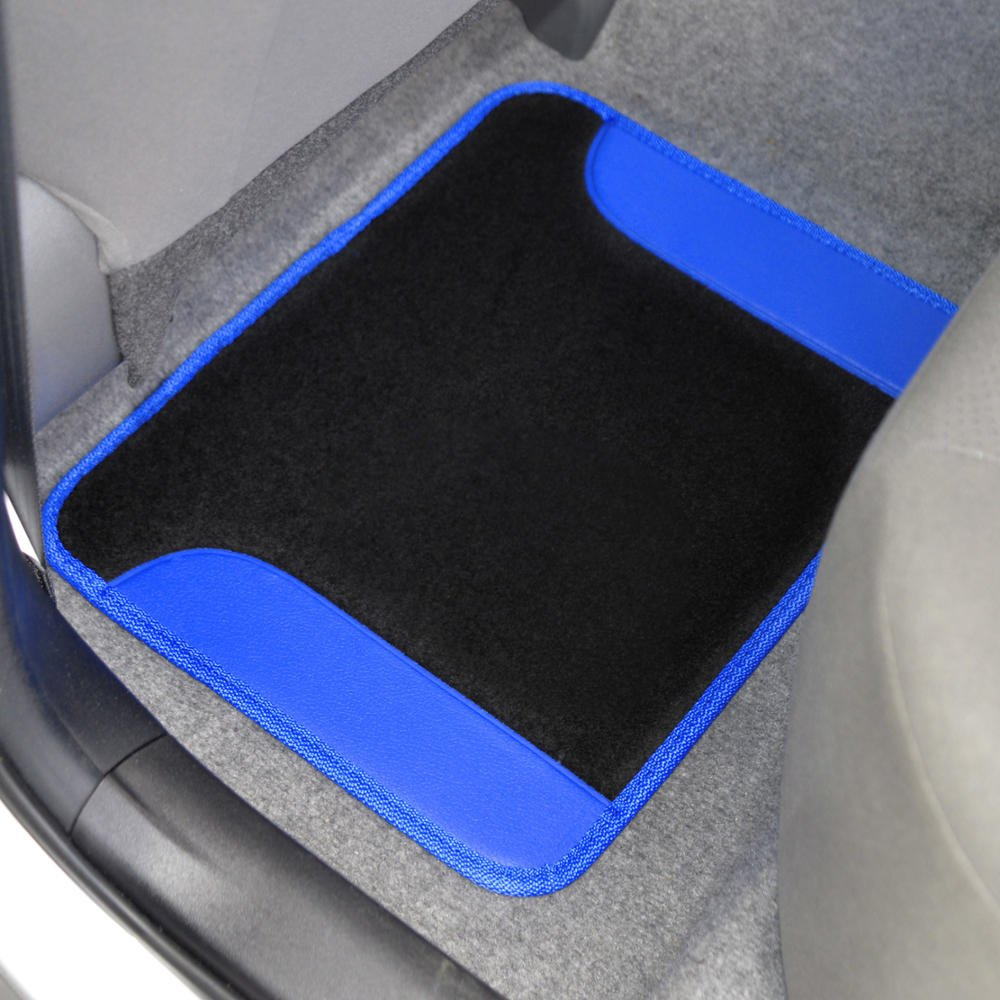 BDK MT-201-BG A Set of 4 Universal Fit Plush Carpet with Vinyl Trim Floor Mats For Cars Trucks Tribal Tan