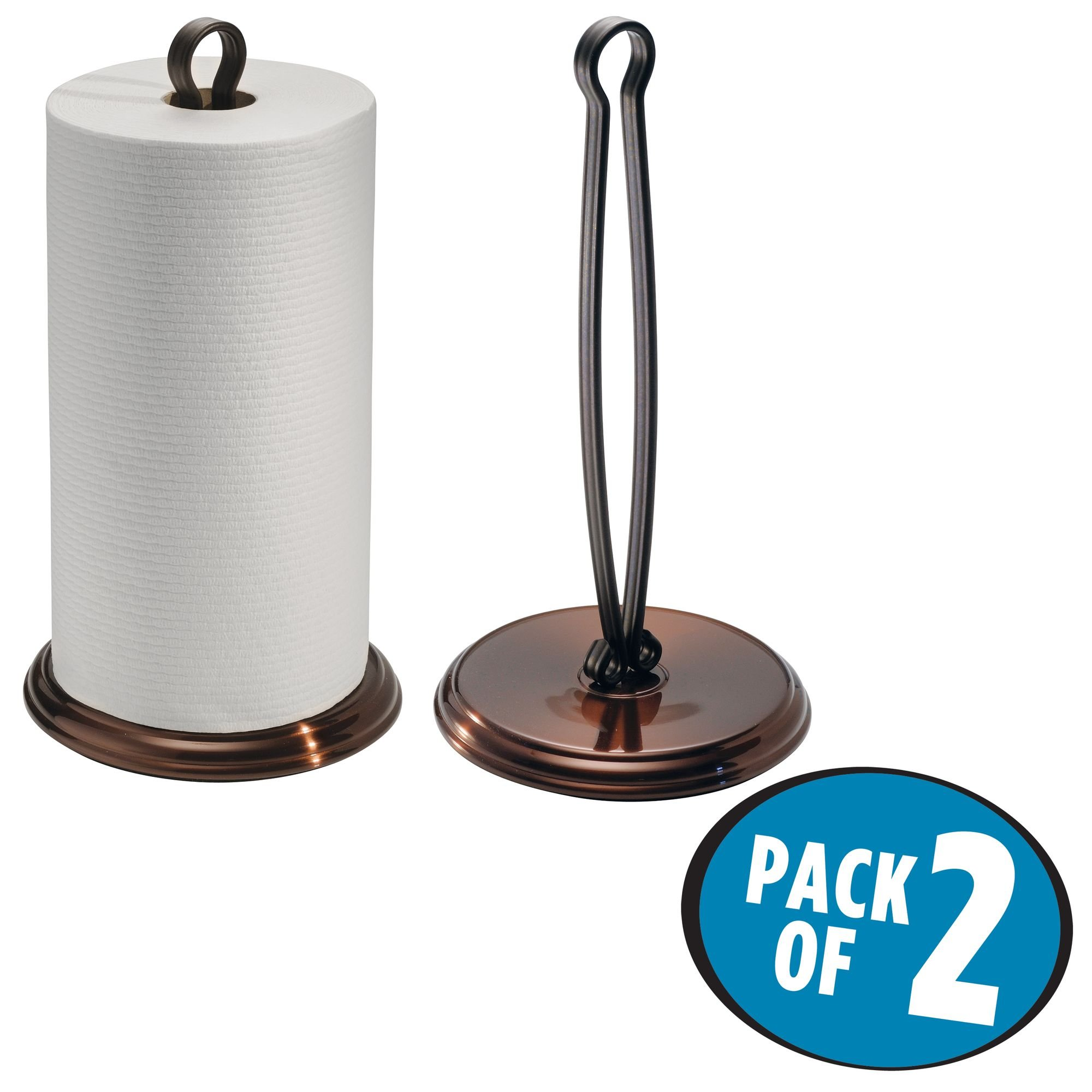 mDesign Paper Towel Holder Stand/Dispenser, Freestanding Vertical Design, Fits Standard and Jumbo-Sized Rolls - for Kitchen Countertop, Pantry, Laundry/Utility Room, Garage Storage - Pack of 2, Bronze