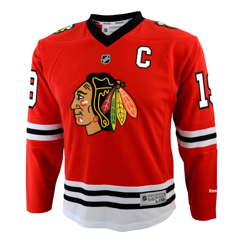 ed39238f0e7 ... Amazon.com Chicago Blackhawks Jonathan Toews Youth Team Color Replica  Jersey - Large X- ...