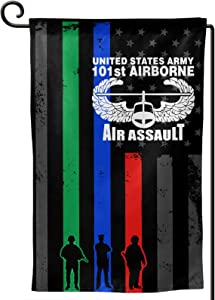 YUANJIUHUI Thin Blue Line Red Line Green Line Flag Us Army 101st Airborne Air Assault Garden Flag House Banner for Party Yard Home Outdoor Decor