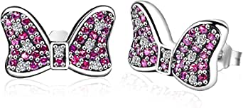Twenty Plus Disney Earrings Minnie's Sparkling Bow Stud Earrings with Pink & Clear CZ