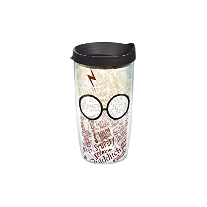 Tervis 1209497 Harry Potter Glasses And Scar Wrap Tumbler with Black Lid, 16 oz, Clear